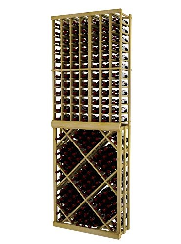 Vintner Series Wine Rack - Individual Bottle Wine Rack with Open Diamond Bin for 144 Bottles - 8 Ft - Pine with Unstained