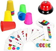 Youwo Quick Cups Game Beat The Bell Speed Cups Game Match Stack Family Game for Kids Age 3 and up, with 54 Pic