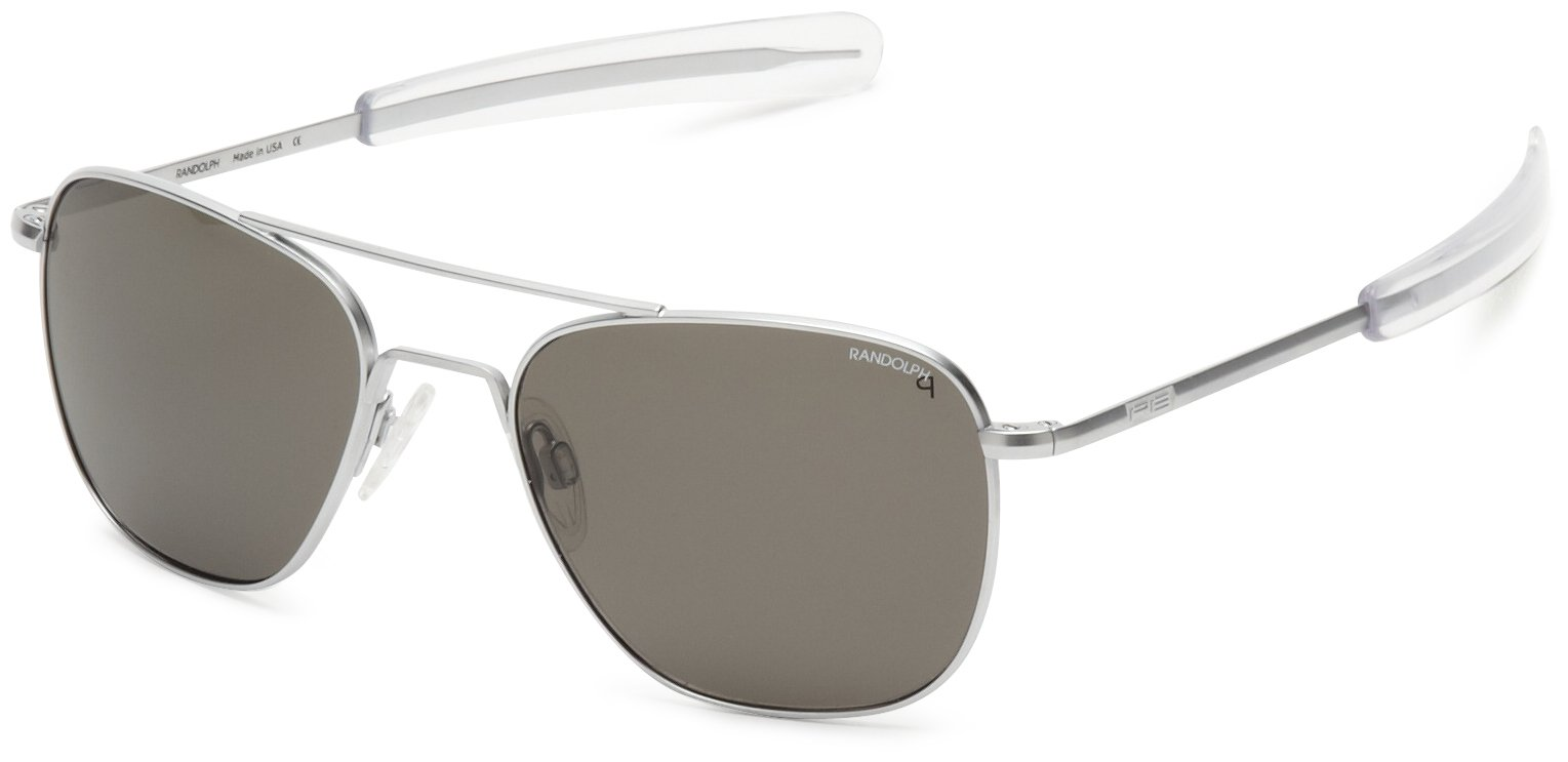 Randolph Aviator Polarized Sunglasses,Matte Chrome/Grey 55 mm by Randolph Engineering