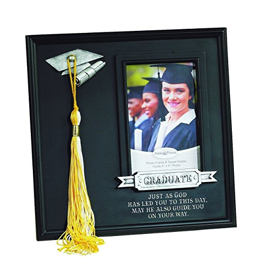 Elysian Gift Shop Graduation Frame with Tassle Hook. Black 10x10 Graduate Picture Frame, Holds 4x6 Photo with Metal Graduation hat Tassel Holder