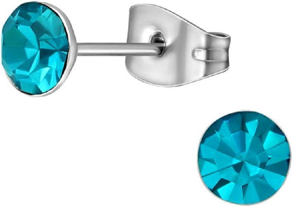 Laimons - Pendientes para mujer de acero inoxidable, redondos, color turquesa