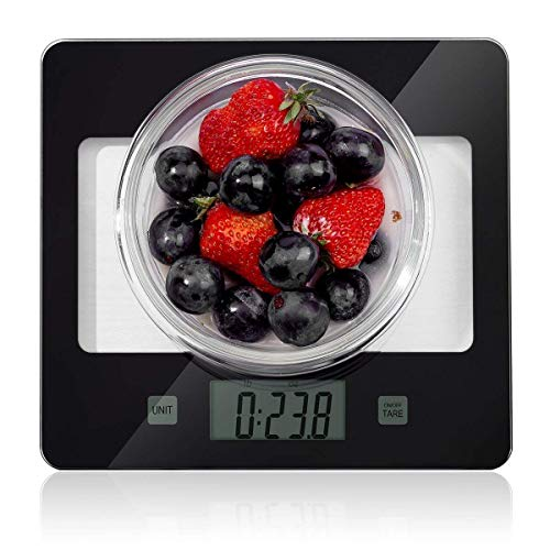 Kitchen Food Scale, Digital Multifunction Accurate Postage Scales with Large LCD Display for Baking and Cooking, 11lb Capacity by 0.1oz, Tempered Glass -