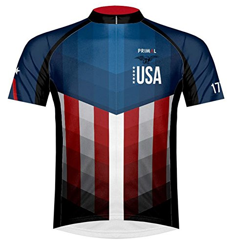 Primal Wear American Patriot USA Flag Cycling Jersey Men's Large Short Sleeve ()