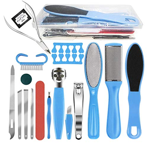Pedicure Kit Professional Tools 18 in 1, MOLYHUA Stainless Steel Foot Care Set Stainless Steel Foot Rasp Foot Dead Skin…