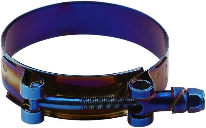 Kyostar 2.25 T-Bolt Hose Clamp Adjustable Stainless Steel Titanium Blue Clamp Diameter Ranger for 2.25 inch(59-67mm)