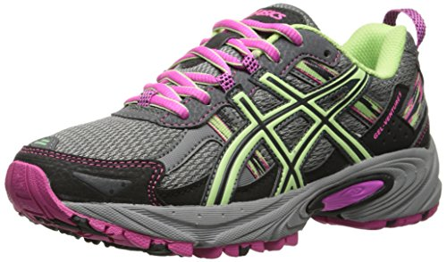 ASICS Women's Gel-venture 5 Running Shoe, Titanium/Pistachio/Pink Glow, 7 M US (Best Glow In The Dark Sneakers)