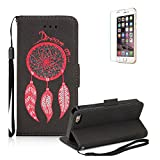 iPhone 5S Case.iPhone SE Wallet Case .Funyye Retro Emboss Fashion Dream Catcher PU Leder Wallet with Card Holder Slots Stand Protective Case for iPhone 5/5S/SE-Black