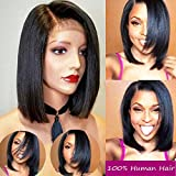 Brazilian Virgin Hair Bob Short Straight Hair Lace Front Wigs Human Hair For Black Women Glueless Short Bob Human Hair Wigs With Baby Hair Side Part Hair(10inch with 130 density,Lace Front Wig)