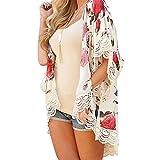 Ladies Cardigan Mose New Women Plus Size Summer Floral Print Kimono Cardigan (Size:M, Rosa)