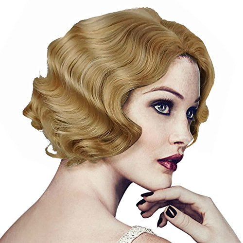 Wraith of East Vintage Short Curly Flapper Wavy Wigs Adult Women Ladies Party Hair (Gold)