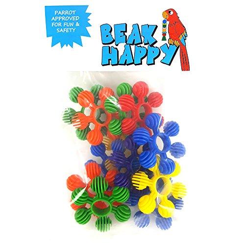 Beak Happy Bird Toy Plastic Flower Ring Talon Toy / Parrot Toy Parts (12pk) ()