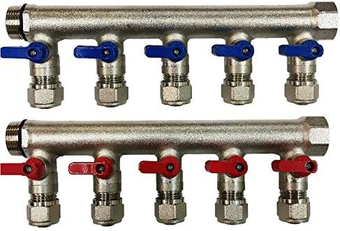 Red and Blue Handles 5 -Loop//Port Ball Valve Brass Pex Manifold for 1//2 Pex Tubing 3//4 Trunk