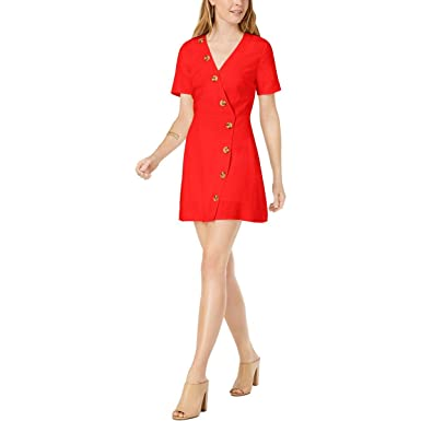 ef34000e968 MOON RIVER Women s Short Sleeve A-line Faux Wrap Dress with Buttons ...