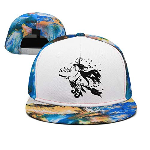 Blue Walpurgis Night Witch Vector Unisex Casual Cotton Flat Cap Fitted Hip Hop Snapback Hats