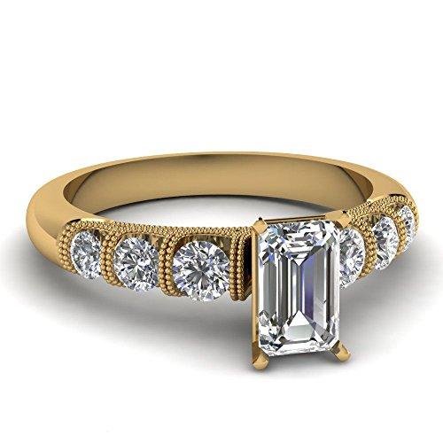 5.94ct White Emerald Cut Simulated Diamond 10k YG Pretty Engagement-Wedding Ring ()