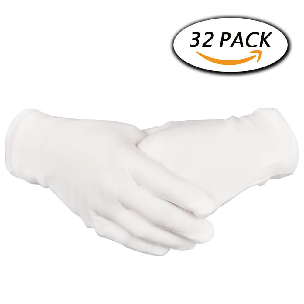 16 Pairs White Cotton Gloves 8.6'' Large Size for Coin Jewelry Silver Inspection by Paxcoo