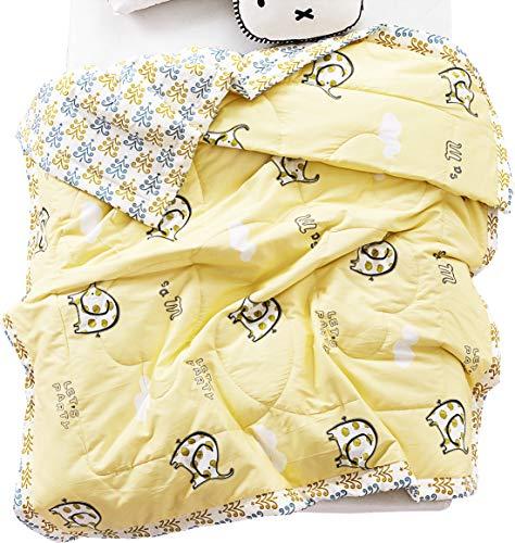 J-pinno Boys Girls Cute Elephant Quilt Blanket Bedding Coverlet, 100% Long Staple Sateen Cotton Comforter Bedspread Throw Blanket for Kid's Bedroom Decoration Gift (16, Twin 59