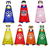 Kids Dress Up Costumes Cartoon 7 Paw Patrol Satin Capes Set with Masks Birthday Party Supplies