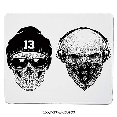 Premium-Textured Mouse pad,Funny Skull Band Dead Street Gangs with Bandanna Hood Rapper Style Grunge Print Decorative,for Computer,Laptop,Home,Office & Travel(11.81