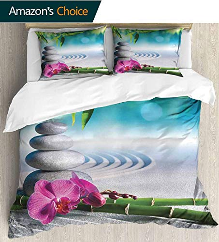 (shirlyhome Spa Decor Cotton Bedding Sets,Sand Orchid and Massage Stones in Zen Garden Sunny Day Meditation Kids Bedding-Does Not Shrink or Wrinkle 79