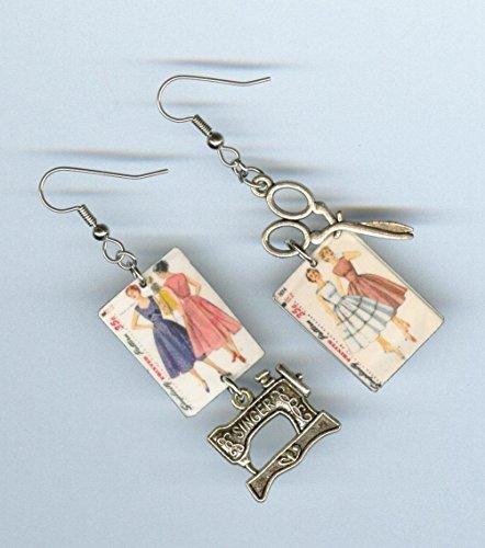 Seamstress Sewing earrings - vintage dress pattern sewing machine scissor -