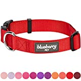 red collar - Blueberry Pet 32 Colors Classic Dog Collar, Rouge Red, Small, Neck 12