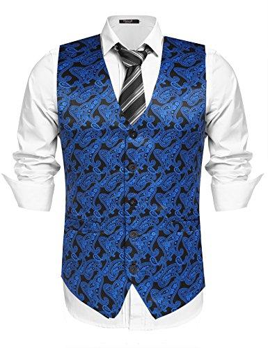 Hasuit Mens Fashion Sleeveless 5 Button Formal Suit Vest Blue XXL (Vest Tuxedo Button 5)