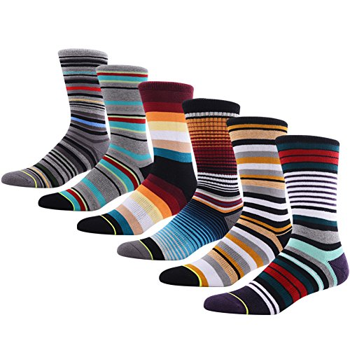 Mens Novelty Casual Crew Socks, MEIKAN Stylish Colorful Multi Stripe Patterned Cotton Mid Calf Wedding Theme Socks for Party ,6 Pairs Color 1,One Size ()