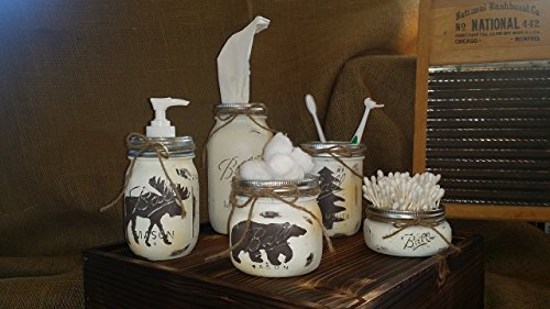 Woodland Mason Jar Bathroom Set | Plaster Rustic Mason Jar Bathroom Set |  Farmhouse Bathroom Decor | Rustic Bathroom Decor | Vintage Decor | Rustic  Kitchen ...