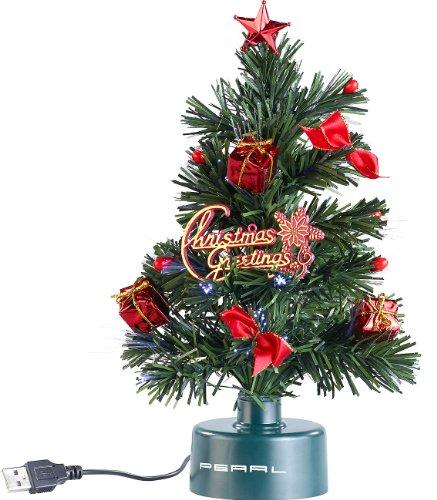 PEARL USB-Weihnachtsbaum mit LED-Farbwechsel-Glasfaserlichtern