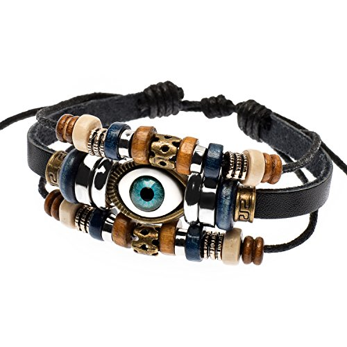Charm Blue Eyes Multistrand Leather Braided Handmade Adjustable Bracelet,Black