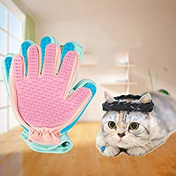 Glumes Pet Grooming Glove Bath & Massage Brush for Shampooing Dogs and Cats with Short or Long Hair - Cat Shape Soft Rubber Silicone Gently Removes Loose & Shed Fur from Your Pet's Coat (Pink)