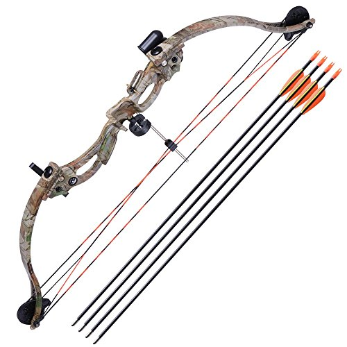 "AW 34"" Junior Compound Bow Kit w/ 4pcs 28"" Arrow Set Youth Archery Draw Weight 20lbs Hobby"