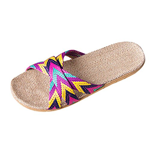 - HYIRI Indoor Summer Slippers, Women's Men's Anti-Slip Linen HomeOpen Toe Flats Shoes