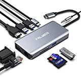 USB C Hub, Type C Adapter, Falwedi 10-in-1 Dongle with Ethernet, 4K@30Hz HDMI, VGA, 3 USB3.0, SD/TF Card Reader, Mic/Audio, USB-C PD 3.0, Compatible for MacBook Air Pro and Other Type C Laptops