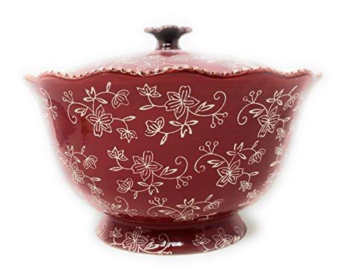 Temp-tations 3 qt Serving Bowl with Lid, Stoneware, Scallop & Flange Edge (Floral Lace Cranberry)