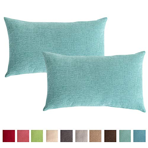 Stellhome Set of 2 Linen Throw Pillow Covers Rectangle Solid Pillowcase for Home Decoration, 12 x 20 inch (30 x 50 cm), Turquoise ()
