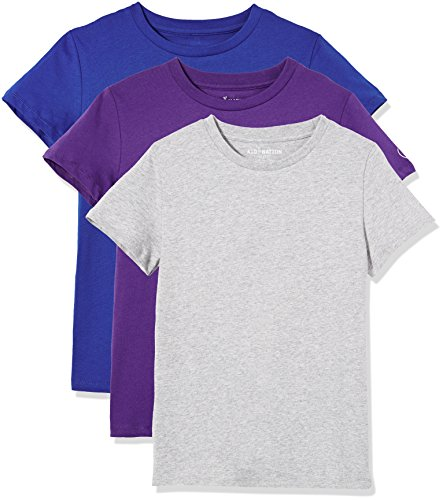 Kid Nation Kids' 3-Pack Short-Sleeve Crew-Neck Cotton Jersey Tee for Boys or Girls