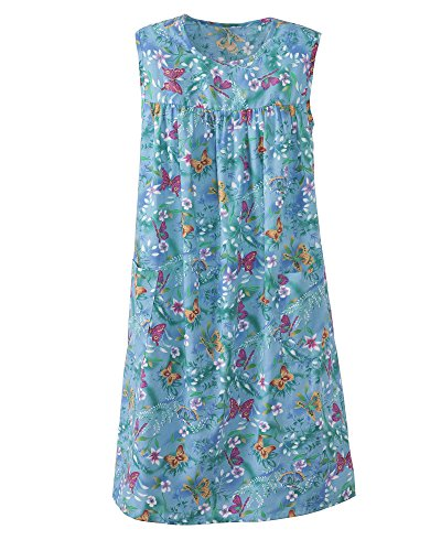 National Print Sundress, Turq. Butterfly, 2X Plus - Misses, Womens -