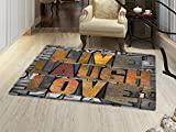 smallbeefly Live Laugh Love Floor Mat for kids Saying Promoting the Sacred Values of Human Life in Colorful a Pattern Door Mat Increase Multicolor