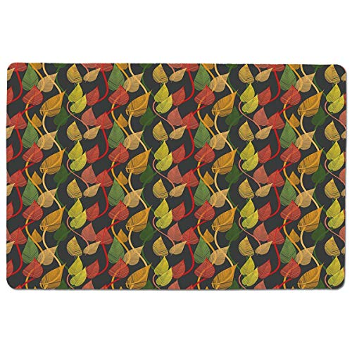 (SCOCICI Premium-Textured Mouse Mat Pad Abstract Colorful Foliage Nostalgic Vintage Leaf Designs Doodle Style Lines Curv,Non-Slip Rubber Base Mousepad,for Laptop,Computer,PC,Keyboard (23.6x15.7 inch))