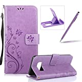 Wallet Leather Case for Galaxy S8,Book Style Pu Leather Case for Galaxy S8,Herzzer Retro Light Purple Butterfly Flower Pattern Flip Fold Pouch Case with Card Holders Stand Magnetic Case