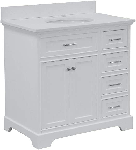 Aria 36-inch Bathroom Vanity Quartz/White : Includes White Cabinet