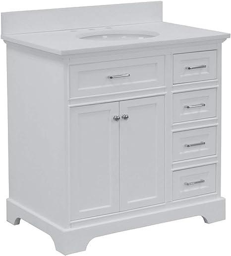 Amazon Com Aria 36 Inch Bathroom Vanity Quartz White Includes White Cabinet With Stunning Quartz Countertop And White Ceramic Sink Home Improvement