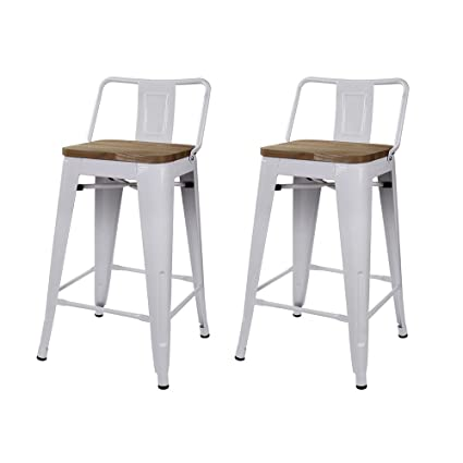 Amazon Com Gia M01 24b Wh Wood 2 24 Low Back Stool 2 Pack Wht