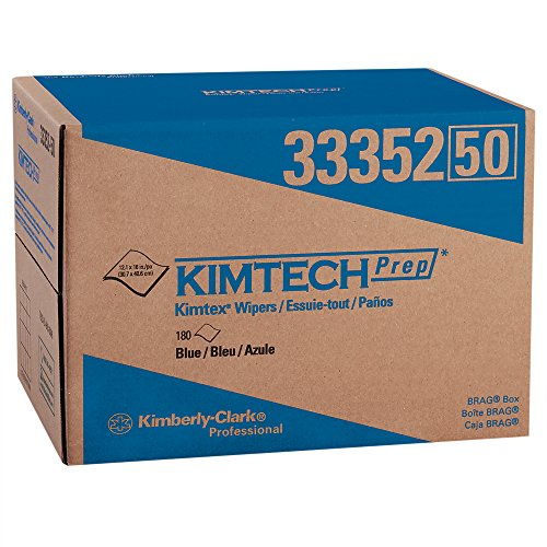 Kimtech Wipers - Kimtech Industrial Cleaning Wipes (33552), Disposable, Low Lint, Blue, 1 Huge Brag Box of 180 Sheets