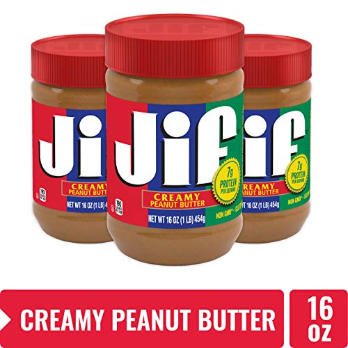 Jif Creamy Peanut Butter 7g 7% DV of Protein per Serving Smooth Creamy Texture No Stir Peanut Butter 16 Ounce Pack of 3