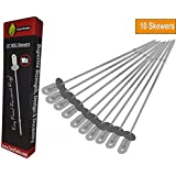 Cave Tools Barbecue Skewers Set - Stainless Steel Wide BBQ Kabob Sticks - 12 Inch Flat Metal Shish Kabab with Food Remover Disc for Grilling