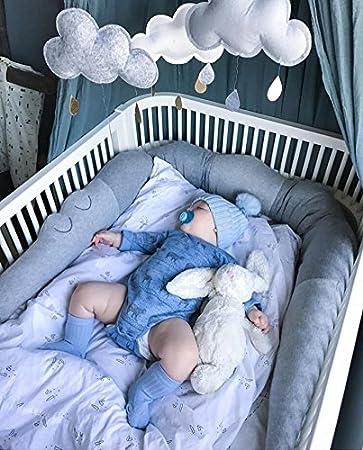 Mondeer Parachoques de cama para ni/ños peque/ños Gran abrazo almohada Coj/ín Juguetes para dormir Ropa de cama de cuna 185cm Cocodrilo Cuna suave para beb/és Cuna Cuna para parachoques Gris