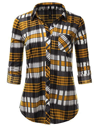 JJ Perfection Womens Long Sleeve Collared Button Down Plaid Flannel Shirt MUSTARDGREY 1XL (Wear Check Plaid)